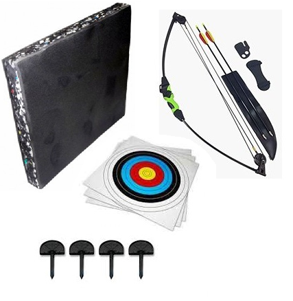 SILCO Black & Green Youth Kids Compound Bow Set 12lbs -with Foam Boss